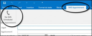 SMS Appointment toolbar and button (in this example using Office 365)